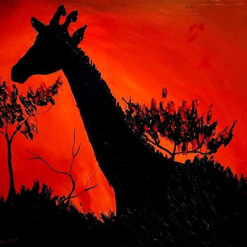 African Red Sunset Giraffe