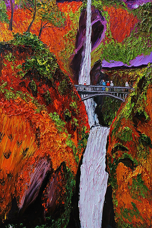 Multnomah Falls Autumn Water Bridge #7
