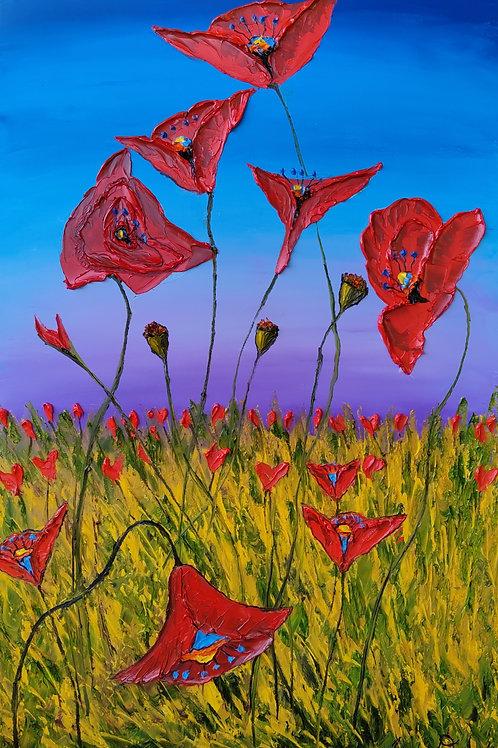 Blue Purple Dusk Red Poppies