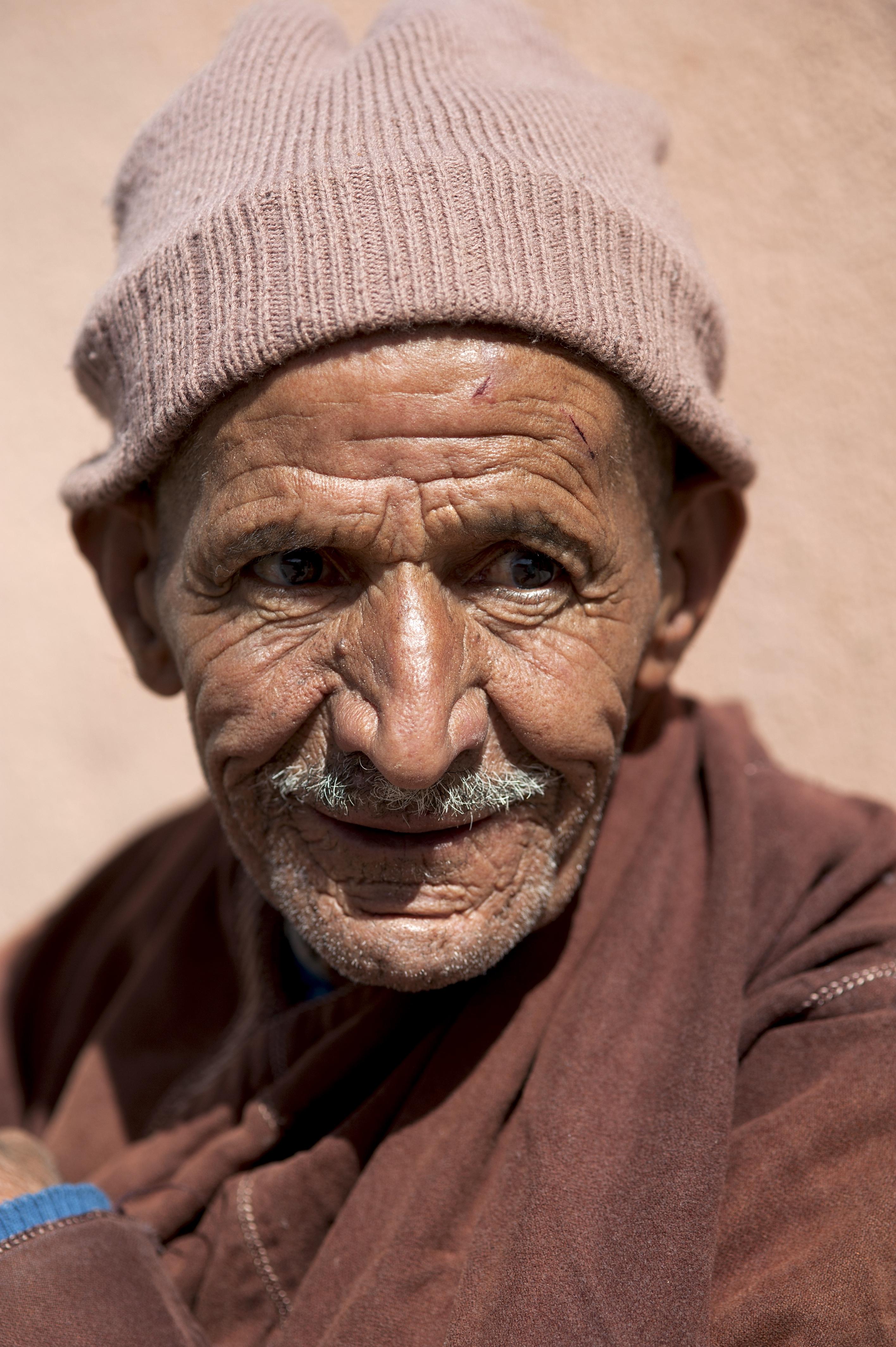 Blind man in Atlas village