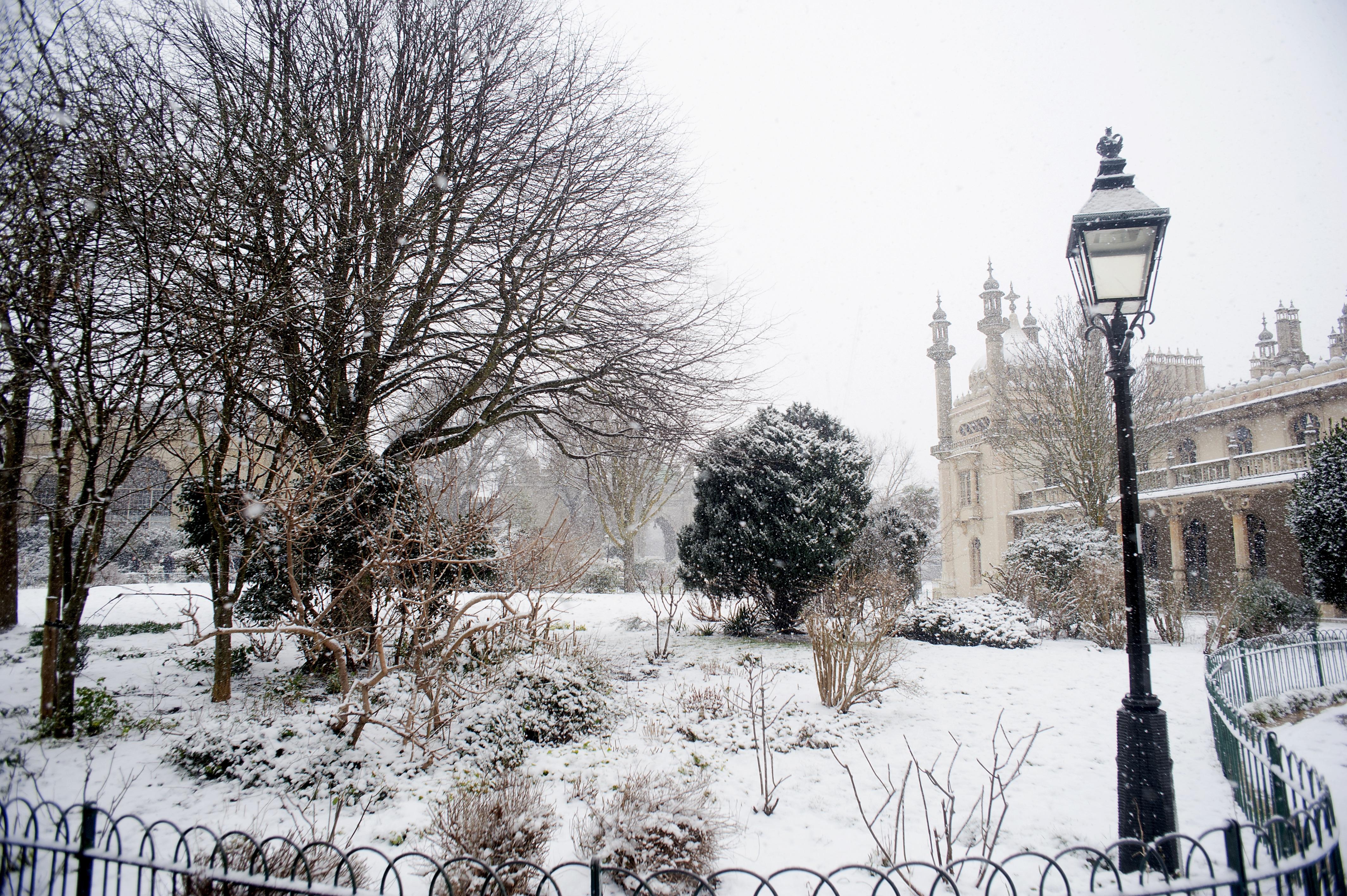 Snowy lampost scene