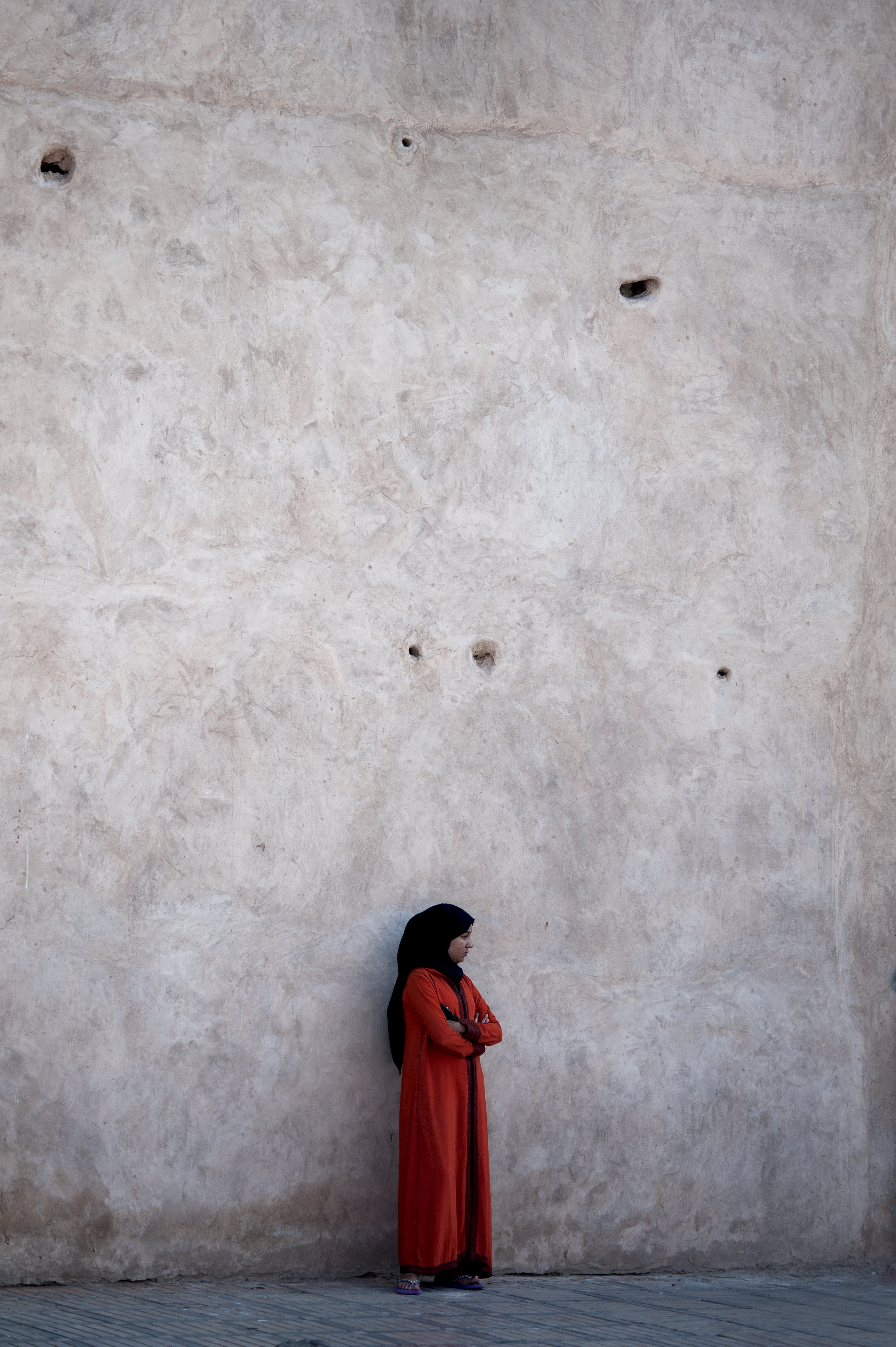 Muslim woman in red