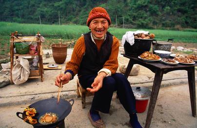 Crab seller, Wulingyaun, China