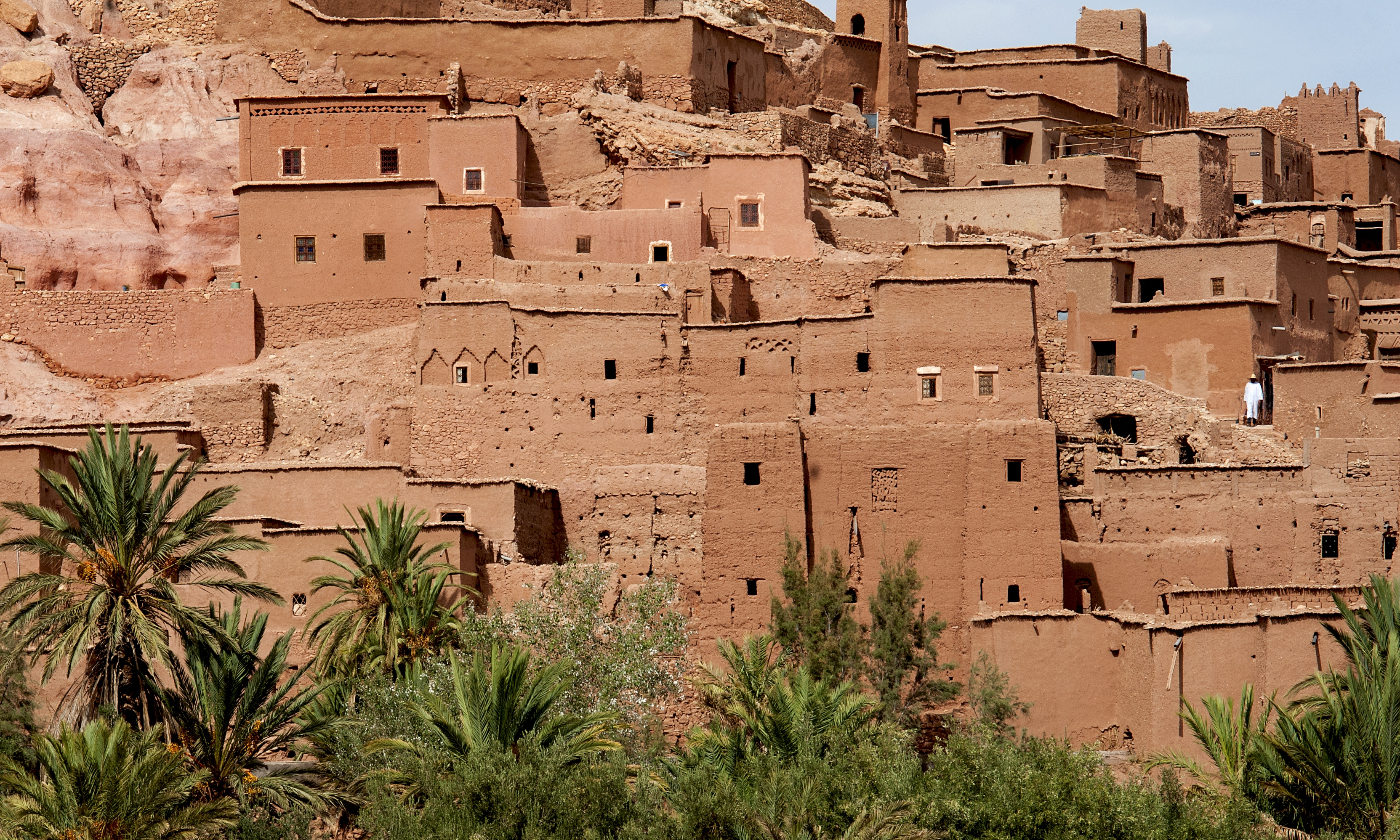 Ait Benhaddou and figure in white