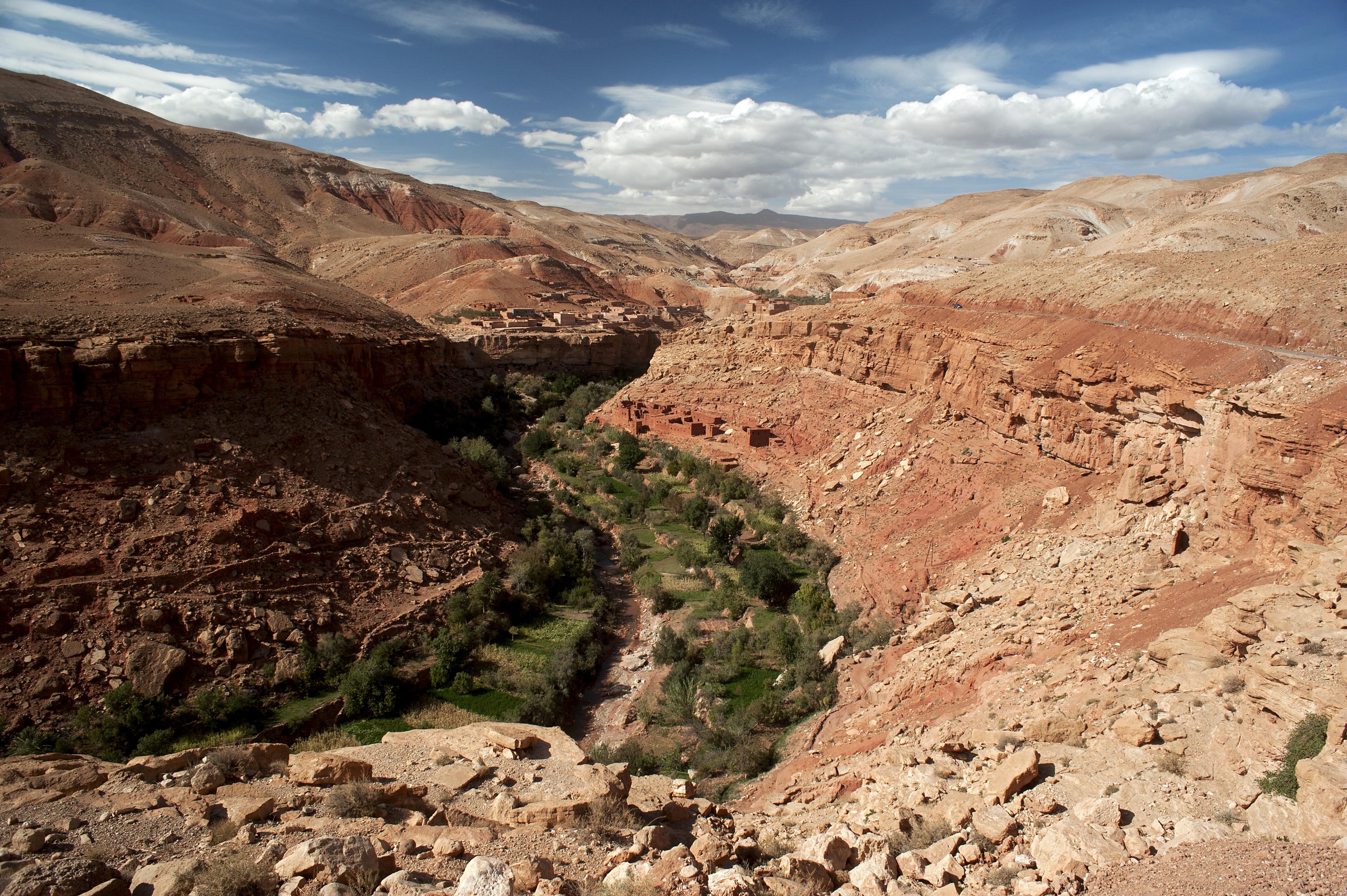 Atlas Mountain valley and desert