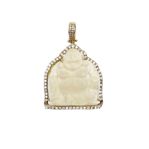 BUDDHA JADE/DIAMONDS PENDANT