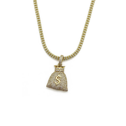 MONEYBAG GOLD/DIAMOND PENDANT