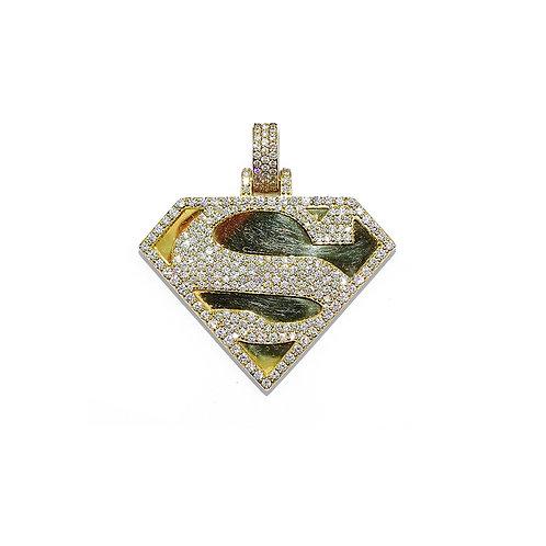 SUPERMAN GOLD/DIAMOND PENDANT