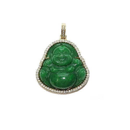 BUDDHA JADE/DIAMONDS PENDANT