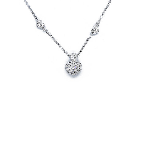DIAMOND BY THE YARD HEART GOLD/DIAMOND PENDANT AND CHAIN