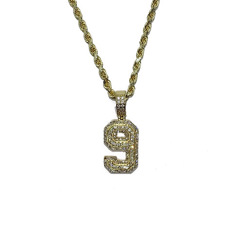 NUMBER 9 GOLD / DIAMONDS PENDANT
