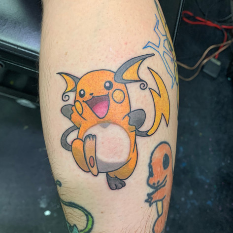 Bold and brite pokemon tattoo by jay jones.