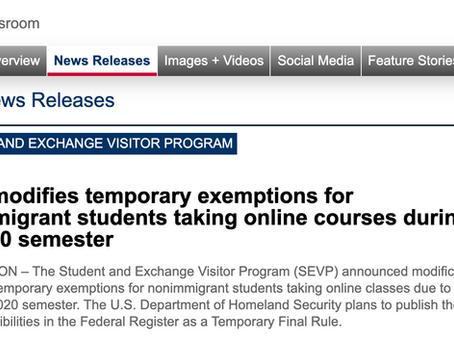 美国移民和海关执法局发布国际学生临时政策