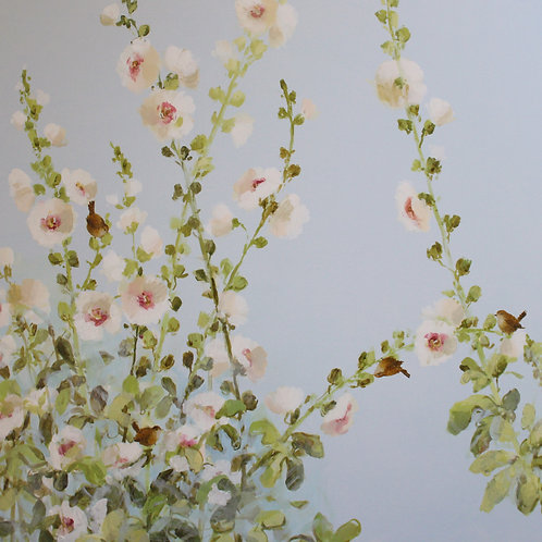 Pretty floral affordable art painting by Fletcher Prentice of summer hollyhocks