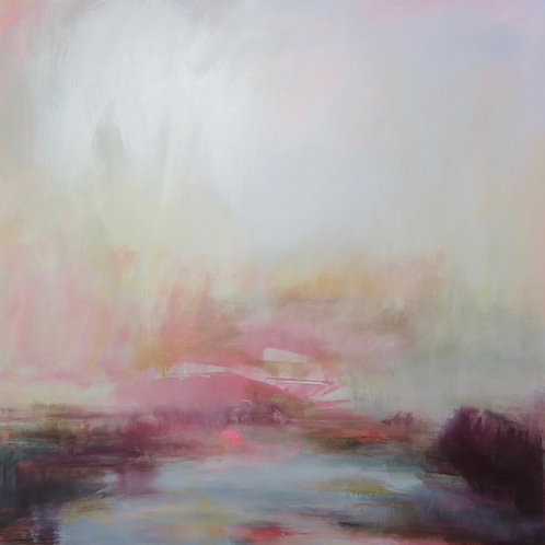 Beautiful pink and blue contemporary landscape painting by Henrietta Stuart
