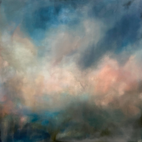 Lovely jewel colouredcontemporary painting of Cotswold landscape and sky by Rebecca Morris.