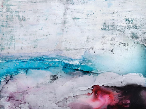 Gorgeous silvery contemporary seascape painting by Alice Cescatti in silver, blues and crimson reds