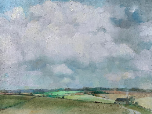 Traditional landscape oil painting of fields and scudding clouds by Harriet Salt