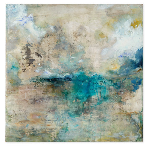 Pretty gold and silver and turquoise contemporary painting by Alice Cescatti
