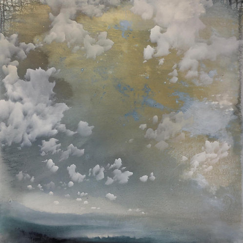 Beautiful still and quiet painting of a sky scape by Sophie Carter in gold ink s and mixed media.