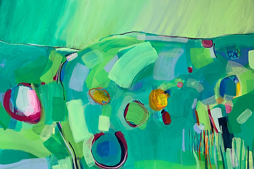 Gorgeous bright green abstract contemporary artwork of Wiltshire by Rose Shorrock