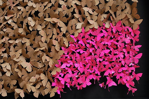 Paper and pin butterfly contemporary art collage by Rebecca Coles