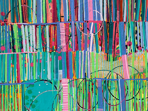 Stunning affordable art, bright colourful abstract painting of a library by Rose Shorrock