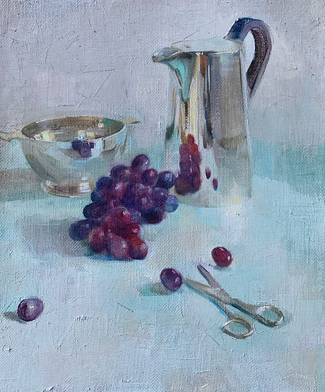 Harriet Salt Grapes refected in silver.j