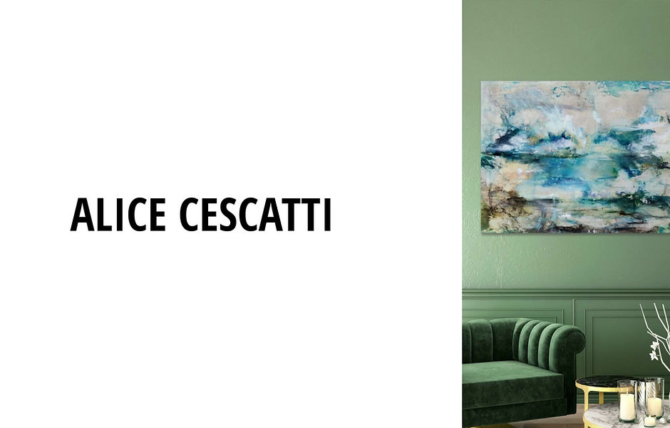 Video of beautiful artworks by Alice Cescatti. The works are silver guilding on panel with mixed media of seascapes and landsscapes in blues and greens.