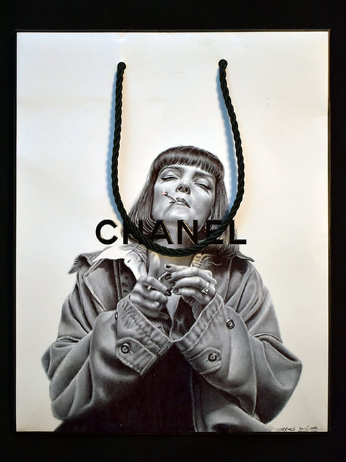 Ballpoint pen on Chanel bag by James Mylne. This work features Uma Thurman from Pulp Fiction. Sold at the Affordable Art Fair