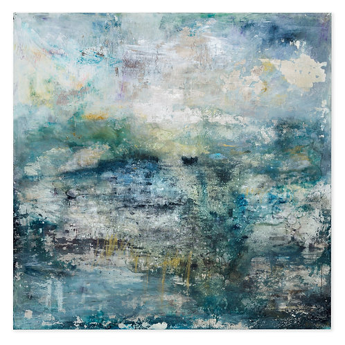 Beautiful blue and green gilded contemporary art seascape painting by Alice Cescatti