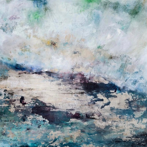 Beautiful contemporary seascape painting by Alice Cescatti in blues and purples and silver
