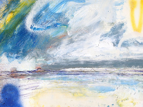 Affordable art painting by Saul Cathcart of a cornish seascape in blues, greens and yellows