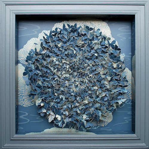 Beautiful blue aper and pin butterfly contemporary art collage by Rebecca Coles -