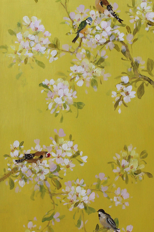 Pretty floral affordable art painting by Fletcher Prentice of Japanese cherry blossoms and songbirds