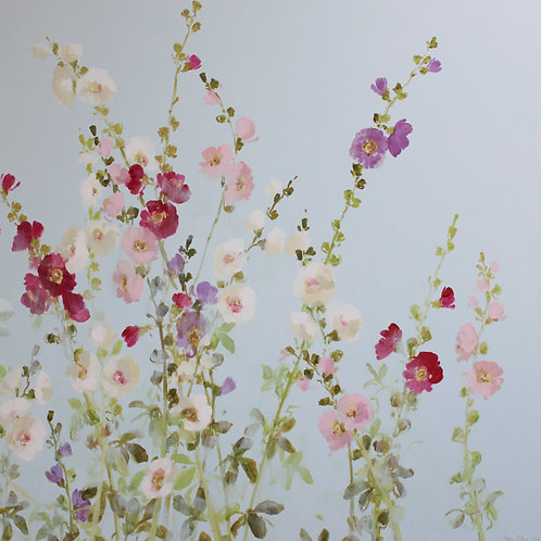 Pretty floral affordable art painting of hollyhocks by Fletcher Prentice