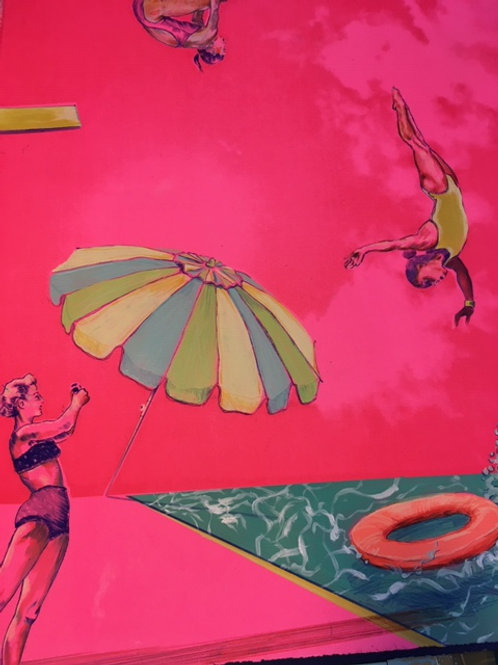 Original affordable art by Anna Marrow, artist and print maker in a shocking pink colour