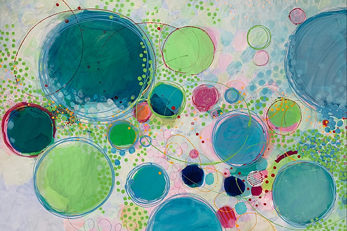 Pretty contemporary abstract artwork in lime green, pink and blue by Rose Shorrock