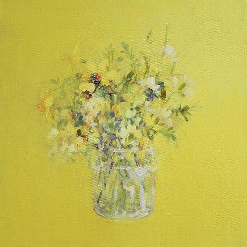Garden Flowers on Yellow