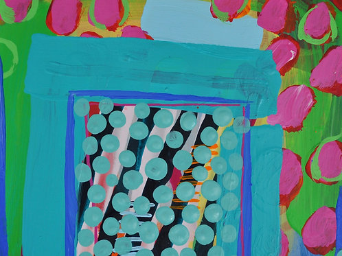 Lovely blue, pink and green abstract contemporary painting by Rose Shorrock.