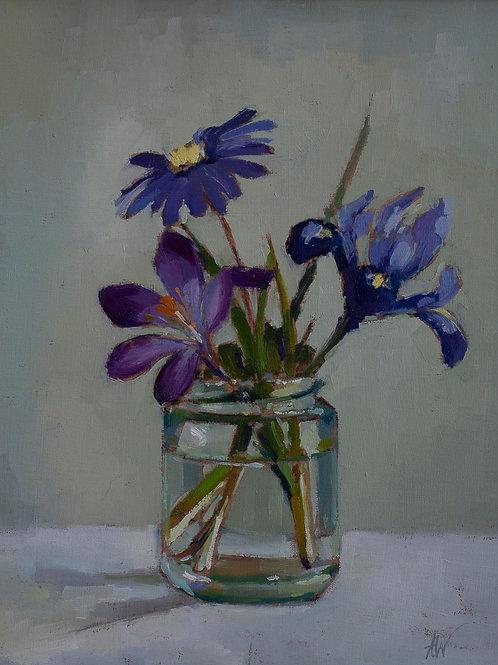 Crocus, Wood Anenmone and Iris in Jar