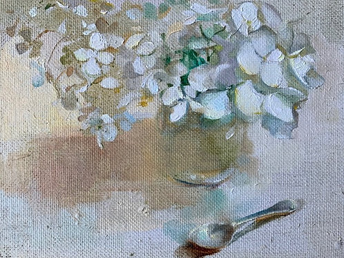 Traditional still life oil painting of white flowers in a jam jar by Harriet Salt