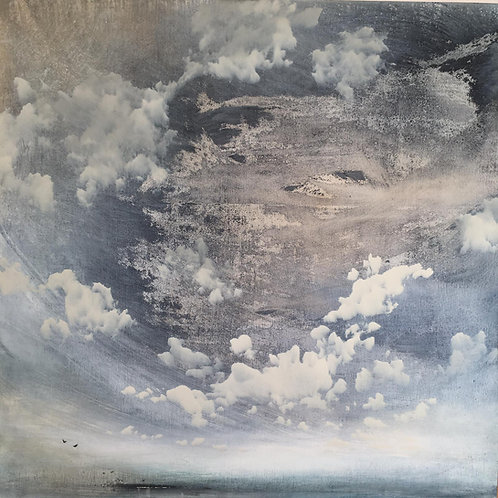 Super pretty cloudscape painting by Sophie Carter. Light blue sky with scudding clouds.