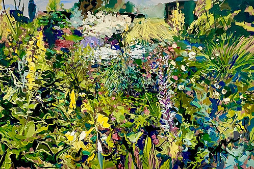 Beautiful affordable art floral Affordable art painting of Great Dixter gardens, East Sussex by Ian Mowforth
