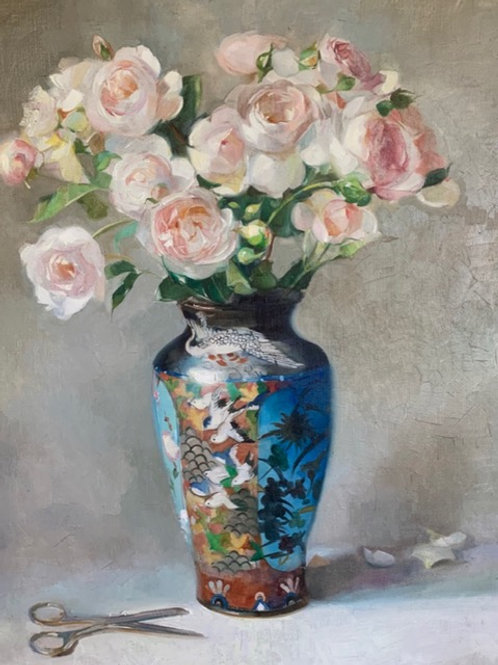 Traditional still life oil painting of a Japanese swallow vase with pink English country garden roses by Harriet Salt