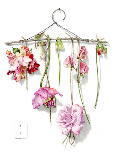 Stunning contemporary floral botanical painting of flowers on a coat hanger by Billy Showell