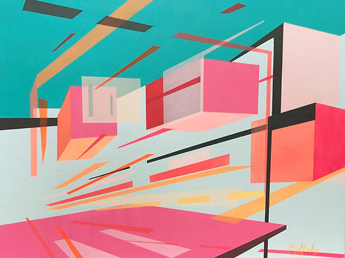 Bright pink contemporary affordable graphic architectural art by Evy Meehan