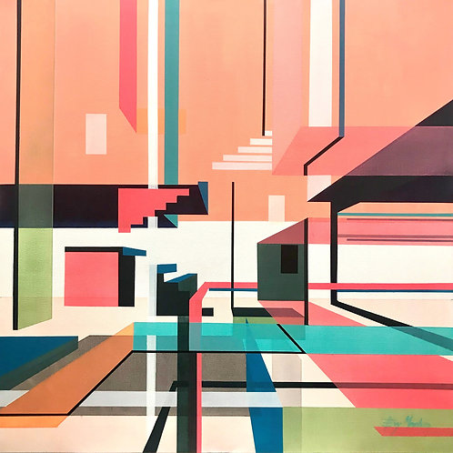 Contemporary peach and turquoise graphic architectural art by Evy Meehan