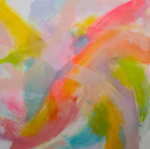 Bright pink, yellow and green neon abstract painting by Jane Wachman