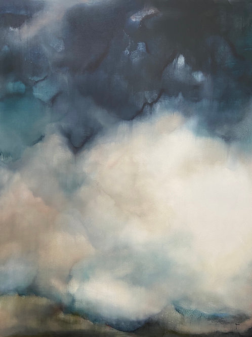 Beautiful blue and cream contemporary landscape painting by Rebecca Morris. Stunning skyscape with cloud art.
